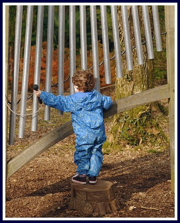 Great Torrington, UK: The musical chimes in the play area are a favourite of his