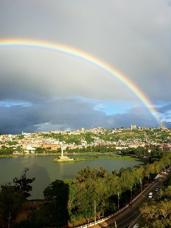 Hotel Carlton Antananarivo Madagascar: View from my room overlooking the lake and a beautiful rainbow!