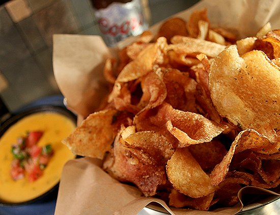 Haltom City, TX: Our famous Brau-chips served with queso