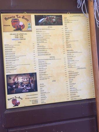 Lucignano, Italië: El comedor y la carta