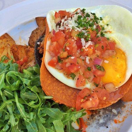 Paradise Valley, AZ: Huevos Rancheros (sunnyside up eggs, chorizo. crispy tortillas. ranchero sauce. chorro beans)