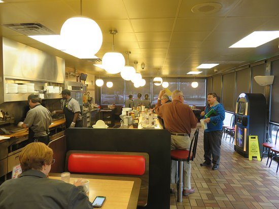 """Dothan, AL: Interior - Waffle House with """"Grill Master"""" at the left of the photo"""
