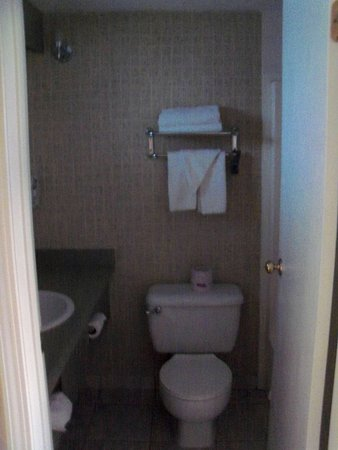 Travelodge Langley City : Shower and bath to right.