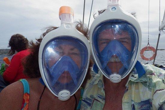 Kralendijk, Bonaire: We tried out the full face snorkels--loved them!