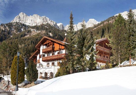Nesselwaengle, Österrike: Frontalansicht vor dem Berghintergrund