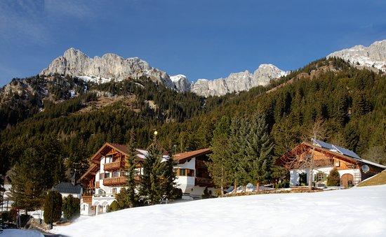Nesselwaengle, Österreich: Frontalansicht vor dem Berghintergrund