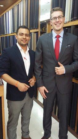 very good combination dark gray suit light blue shirt
