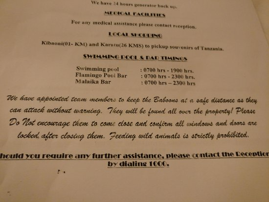 Lake Manyara Hotel: Beware of Baboons, LOCK YOUR DOORS!
