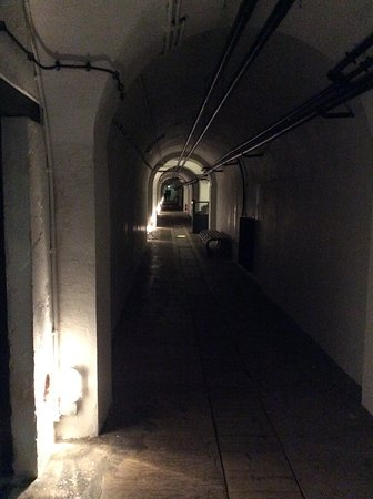 Jersey War Tunnels - German Underground Hospital: An image of the tunnels you walk through, viewing all the various exhibits