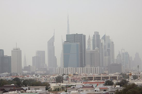 Winchester Hotel Apartments: View from the room balcony towards the polluted Dubai skyline