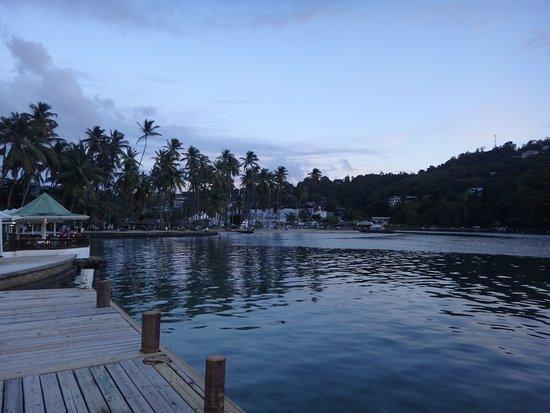 Marigot Beach Club and Dive Resort: At Dock Looking At Small Beach