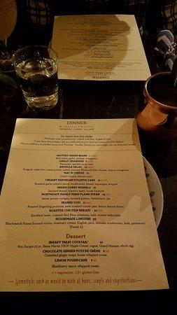 Ludlow, VT: menu for our visit