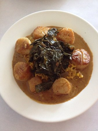 Cornelius, NC: Eddie Z here again. Diver scallops with collard greens.outstanding !!