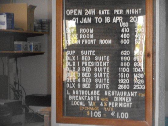 High Season Room Rates at Esmeralda Resort, St Martin