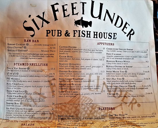 Six Feet Under Pub And Fish House Menu
