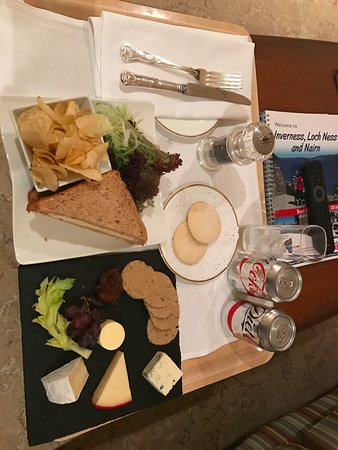 Culloden House: Room Service: Egg Sandwich & Cheese Plate