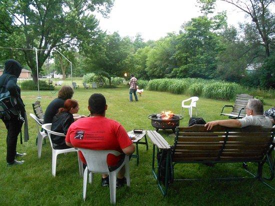 Stevensville, MI: Gathered around fire pit visiting
