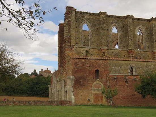 Chiusdino, Italy: San Galgano with sanctuary on the hill
