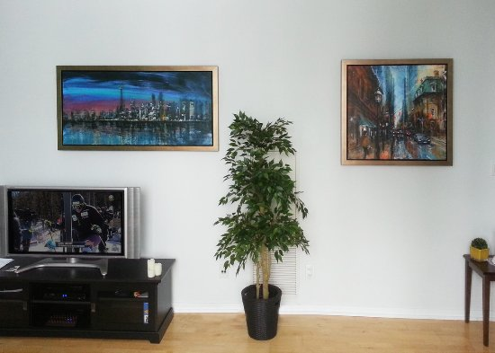 Cambridge, Canada: Two original paintings of Torpnto by Alex Krajewski at their new home in Toronto