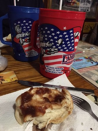 Foley, AL: Rolls with Apple Butter and large drinks