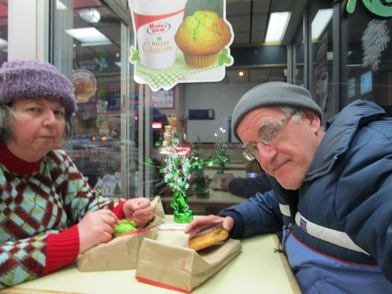 Louis and I at Honey Dew Donuts in Cranston, R.I.