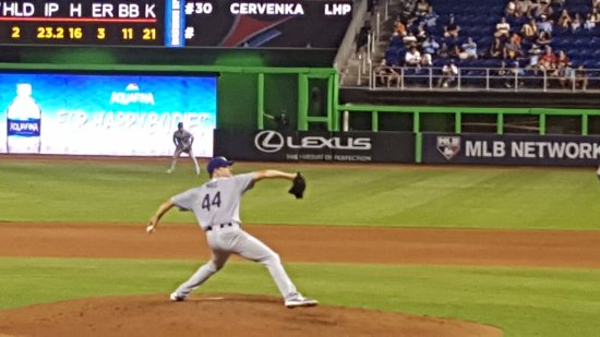 Marlins Park: He was throwing a no hitter and was taken out in the bottom of the 7th