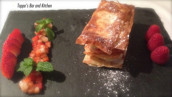 Littleborough, UK: Filo pastry mille feuille. Rose water mascarpone. Strawberries.