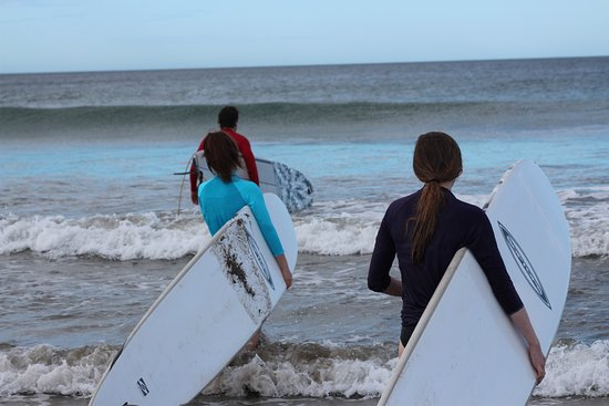 Playa Grande, Costa Rica: My sister and I out for our first lesson with Johel.