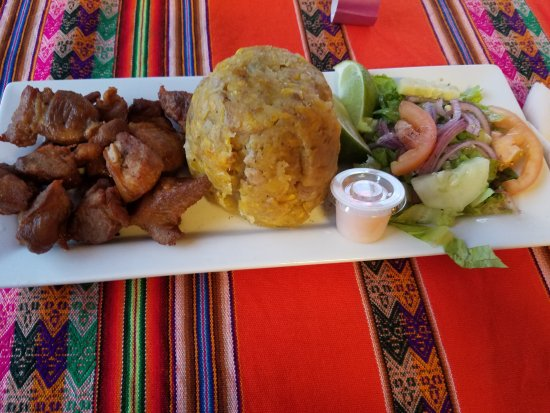 Chambersburg, PA: A pork dish with mashed plantains and salad, yum!