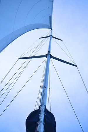 Champagne Sailing Cruises: Michael's yacht - main mast from the deck.