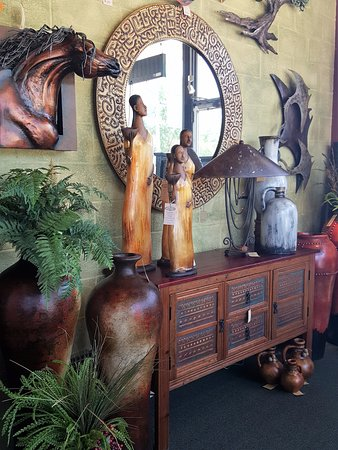 Stover, MO: Hand painted mirrors and cabinets with copper inlays.