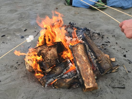 Roasting marshmallows with friendly Long Beach residents