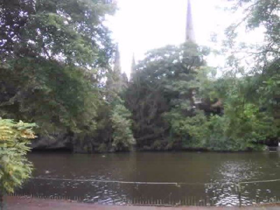 Lichfield, UK: the moat that surounds part of the cathedral
