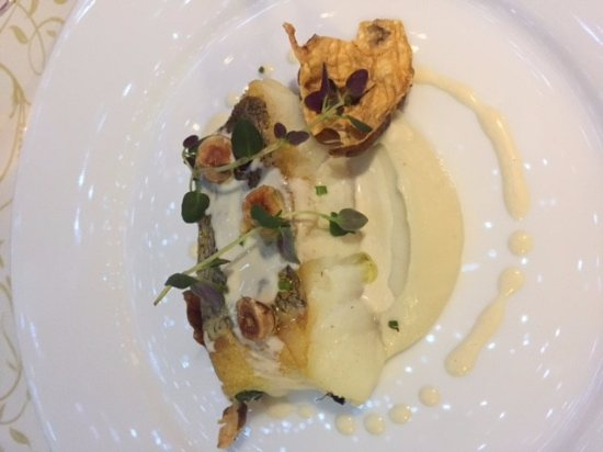 Newry, UK: Cod served with jerusalem artichokes, hazelnuts and bagna cauda from piemonte