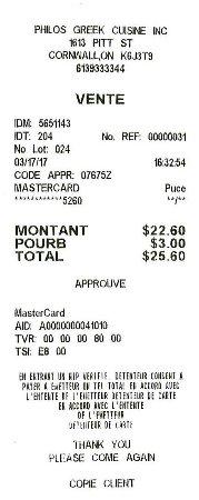 Cornwall, Canada: $25.60 avec taxes et pourboire.