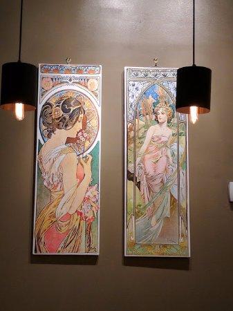 Bistro Bohem: Alphons Mucha decor on the walls