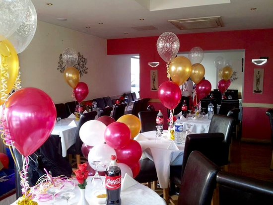 Burgess Hill, UK: Party Decorations at Taza