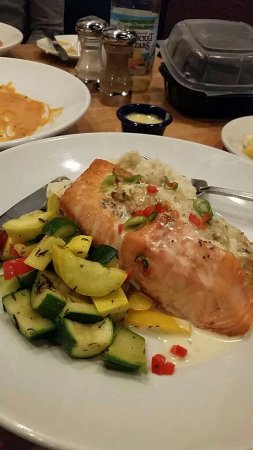 Potomac, MD: Crab stuffed salmon with veggies and mash potatoes