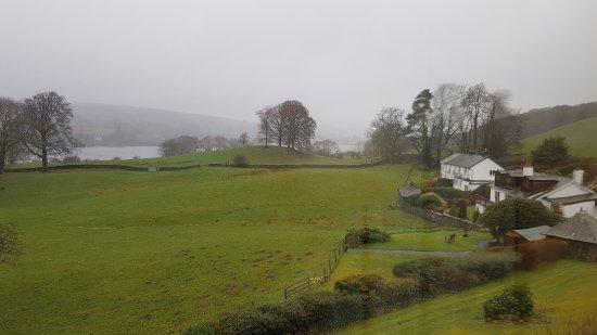 Near Sawrey, UK: Rainy day view from rear Lilac room