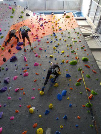 Mooresville, NC: One of the many indoor climbing walls.