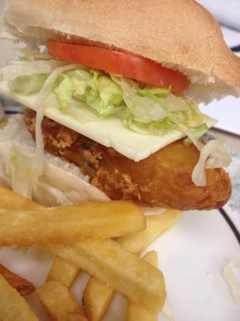 Hornell, Estado de Nueva York: Fish sandwich with french fries, a great meal anytime!