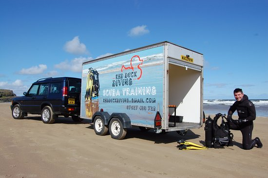 Castlerock, UK: Our tailor-made scuba trailer is the ideal classroom, kit room and changing room.
