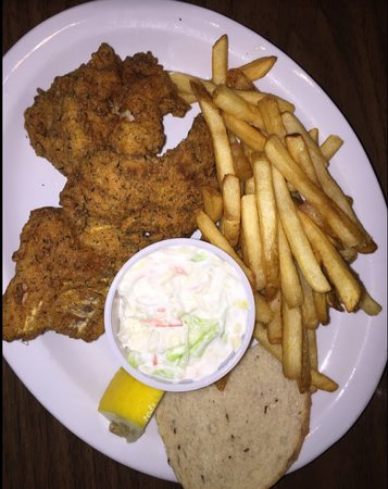 Green Lake, WI: Three piece haddock dinner with sides.