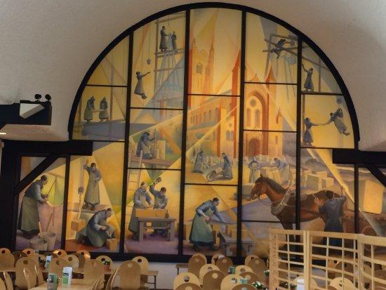 Buckfastleigh, UK: Construction mural in Grange Cafe