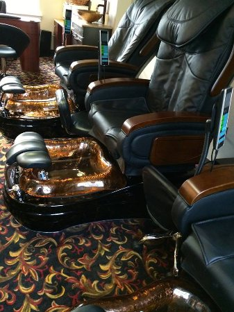 Wolfeboro, NH: Enjoy a peaceful pedicure in our state-of-the-art shiatsu massage chairs