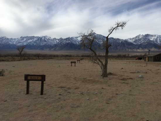 Independence, CA: Signs mark the location of barracks that existed in the past. The Eastern Sierras loom behind.ck