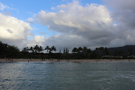 View of beach & bathers, from Pavilion Pier, Hanalei Beach/Bay, KAUAI