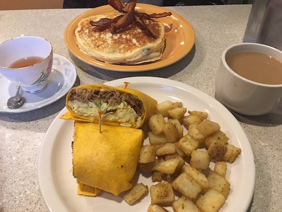 Grove, OK: Lewis' Favorite and Blueberry Pecan Pancake with Crisp Bacon