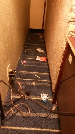 Rock Hill, SC: Trash behind couch in Room 203