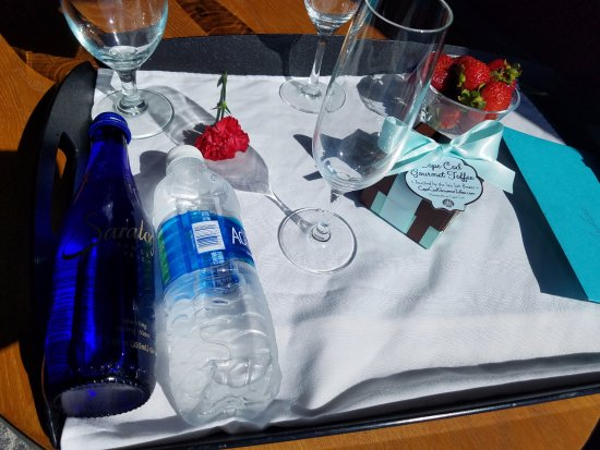 Hyatt Regency Boston Harbor: Strawberries, wine, water and a birthday card for my fiance (now husband!)